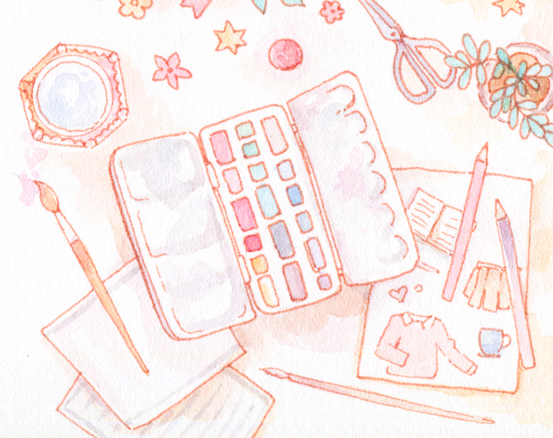 Working freelance as an illustrator, I create custom art for blogs and brands in watercolor.