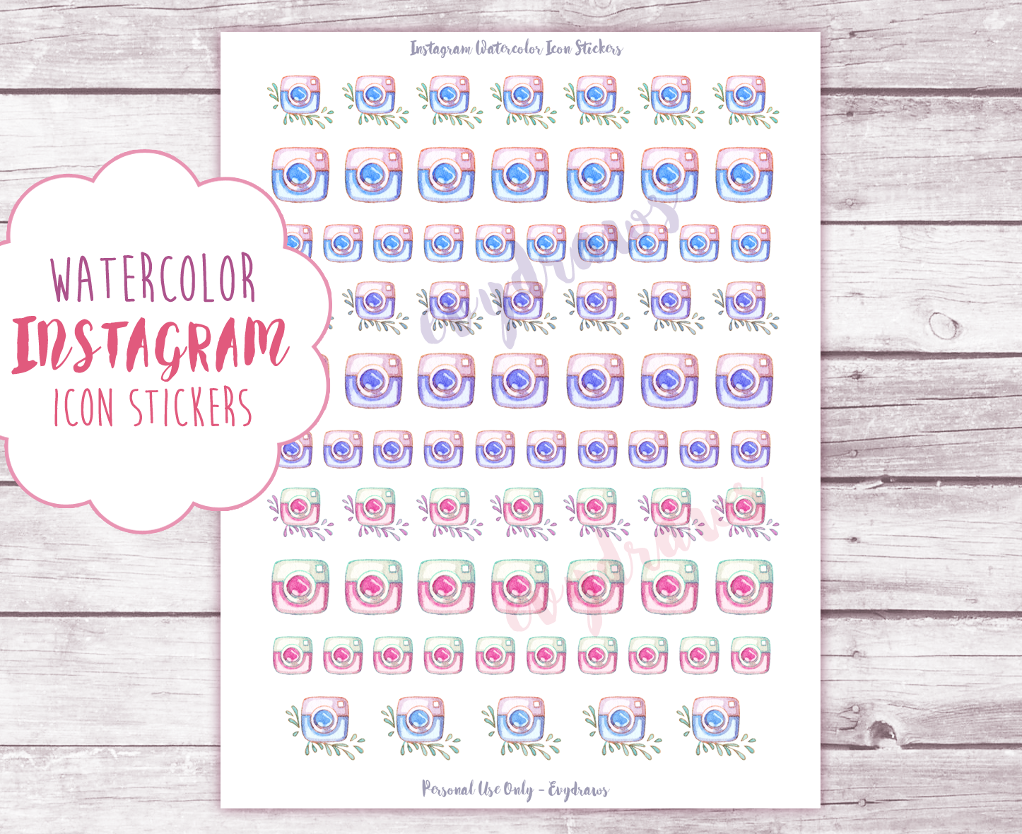 By the way: This printable Instagram icon sticker sheet is now up in the password-protected library. Just sign up for  my newsletter  to get access!