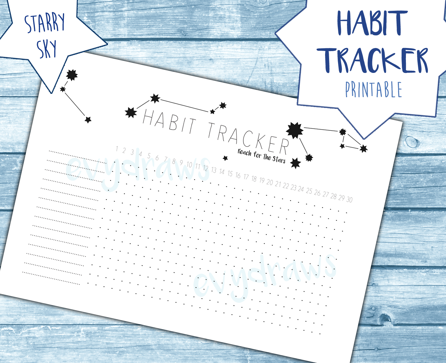My printable Starry Sky habit tracker for bullet journals, planners and notebooks. With four different versions (28-31 days per month) and easy to fit in any A5 or larger notebook.