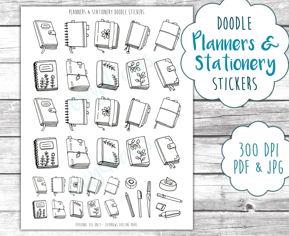 Hand-drawn doodle planners and journals, inspired by the Midori, Hobonichi, Filofax and various planner designs. With little washi tape and pen doodles and coming in various sizes, these printable stickers are the perfect decoration for your bullet journal or planner!