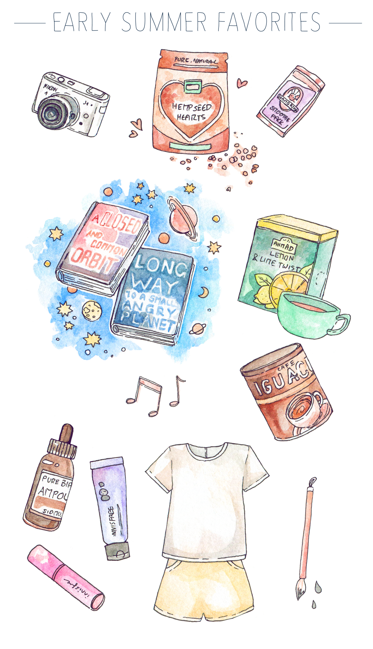 My illustrated May favorites on the blog!  Korean skincare and beauty from Innisfree and Sidmool, Korean calligraphy brushes, summer outfits, music and book favorites, healthy vegan food, tea and coffee - a round-up of all the things that brought me joy in early summer!