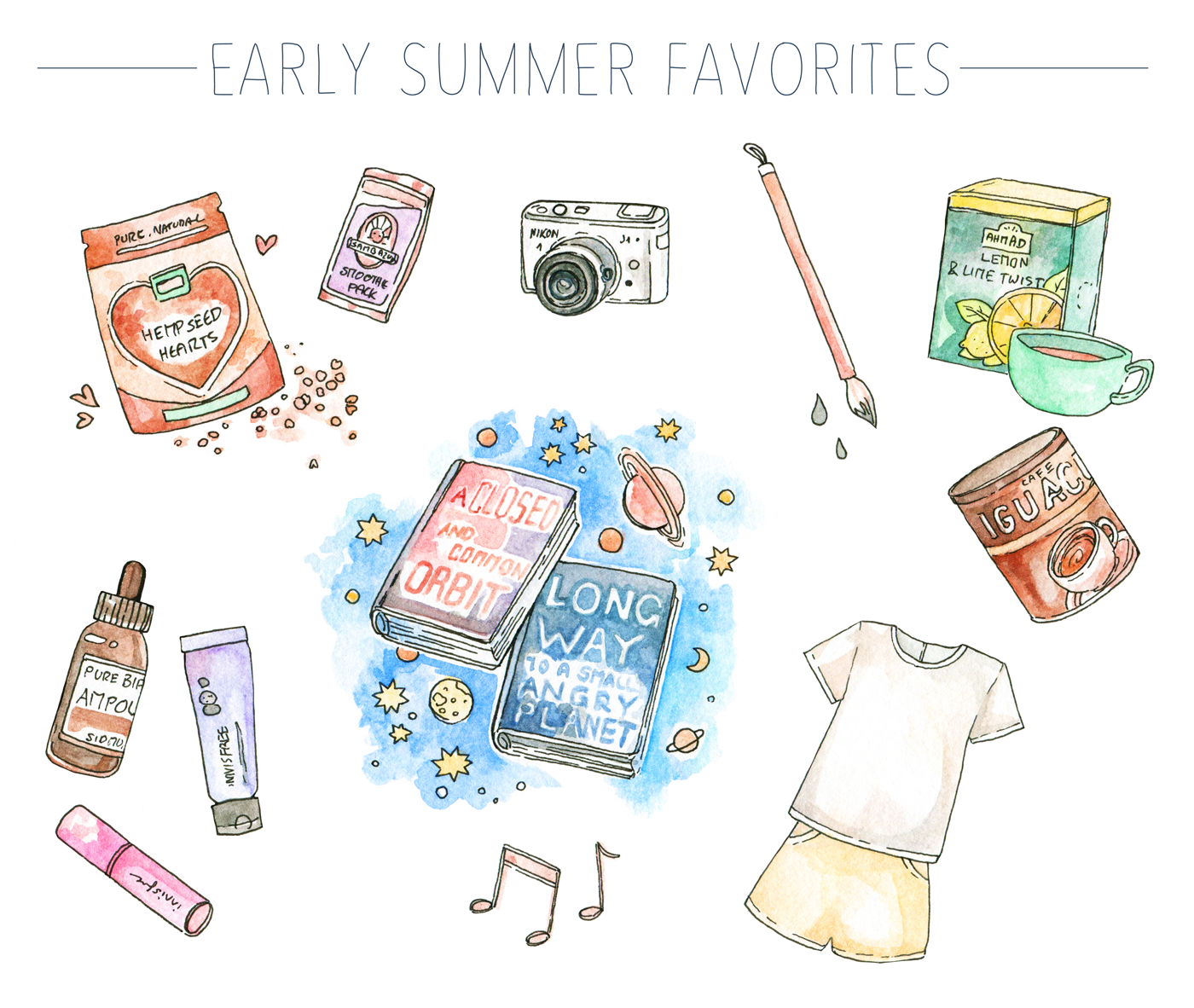 My summer favorites round-up on the blog. Science fiction reads & reviews, K-Beauty, coffee, healthy food and art supplies!