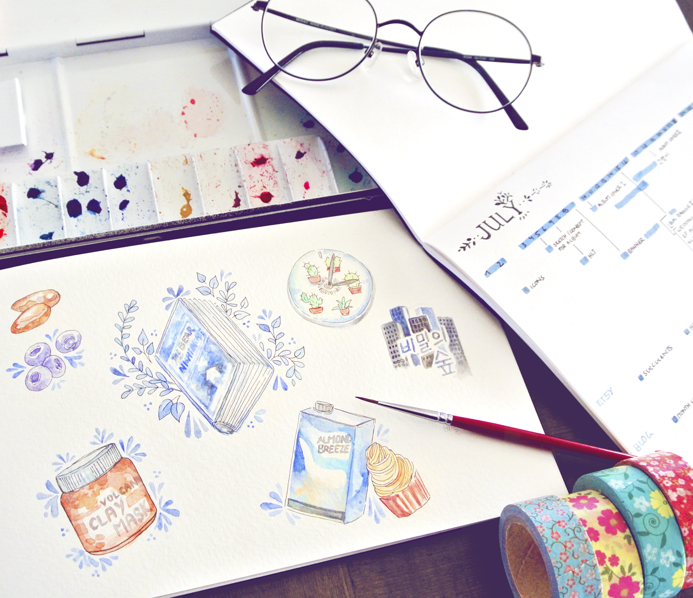 Drawing my favorites, watercolors in a Canson sketchbook. Love doing these blog illustrations!