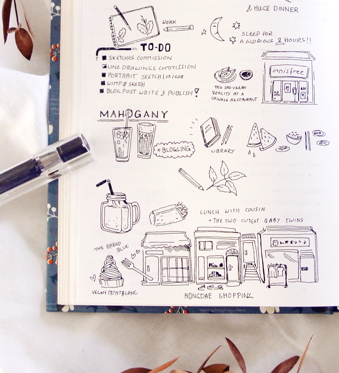 My travel diary sketches for this day in Seoul and Incheon. The Bread Blue was my personal highlight haha...