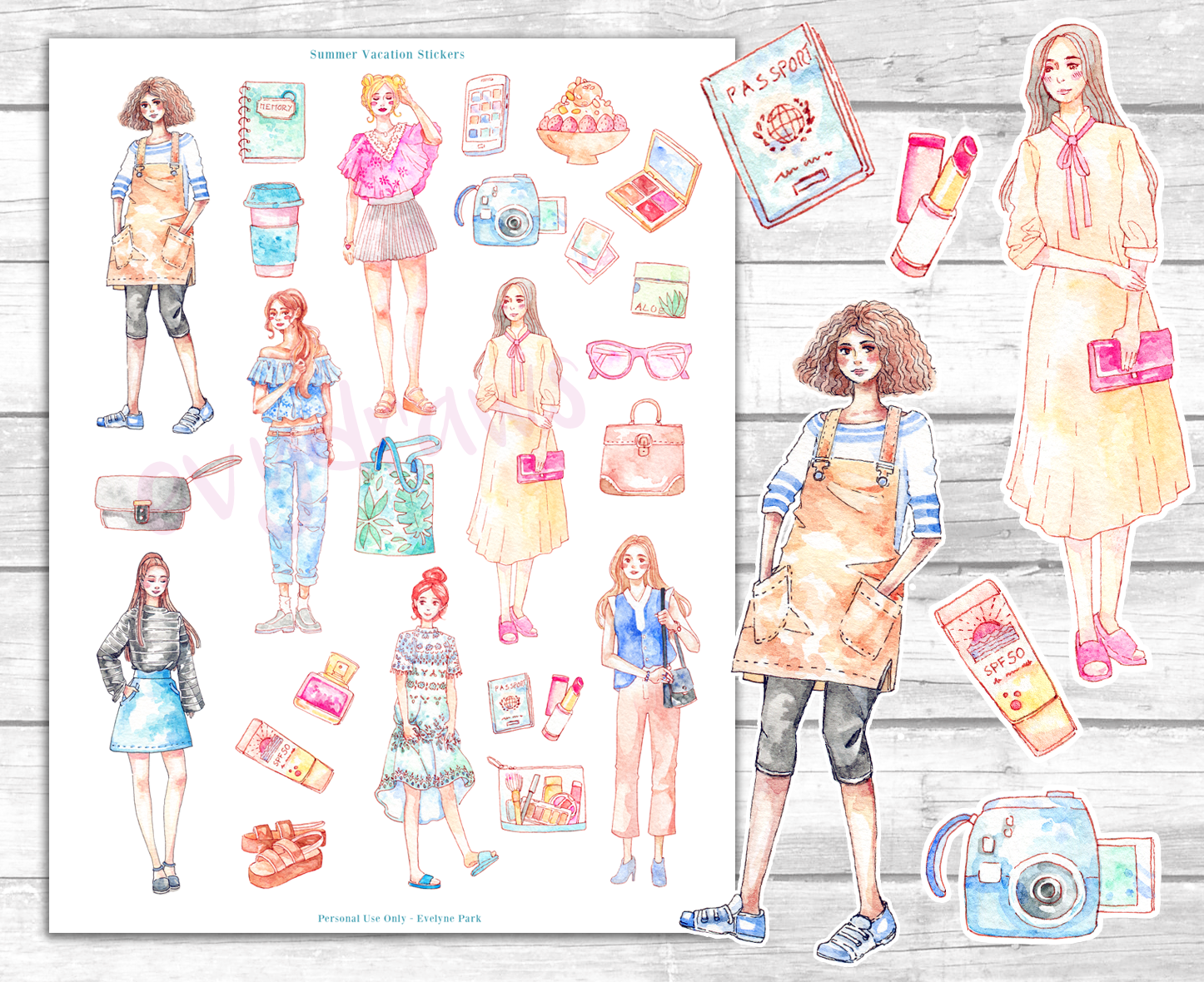 Free printable summer vacation stickers on my blog. Korean fashion, travel essentials and lots of colorful details!