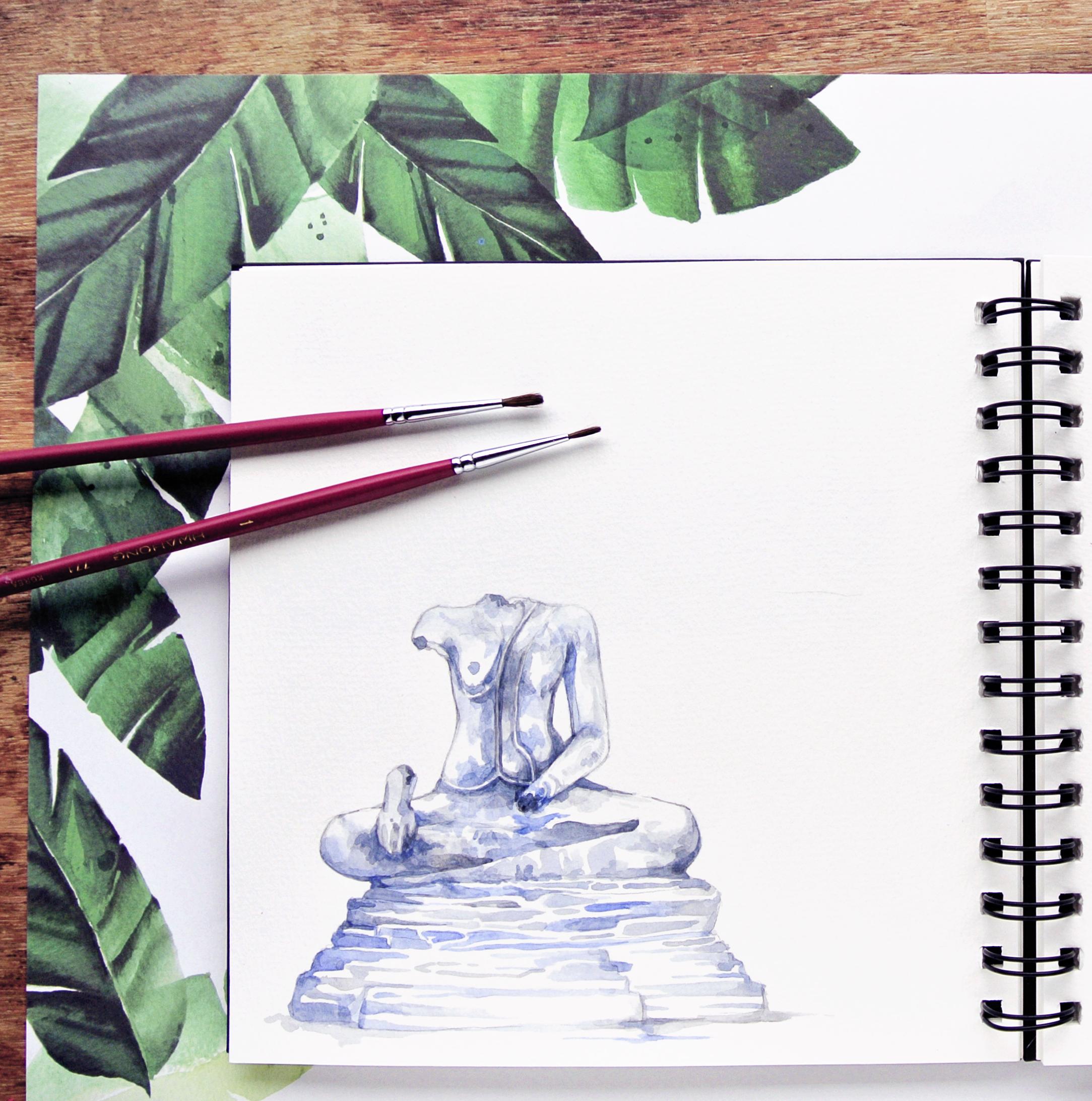 Ayutthaya Headless Statue, Watercolor Sketch Travel Sketchbook Evelyne Park