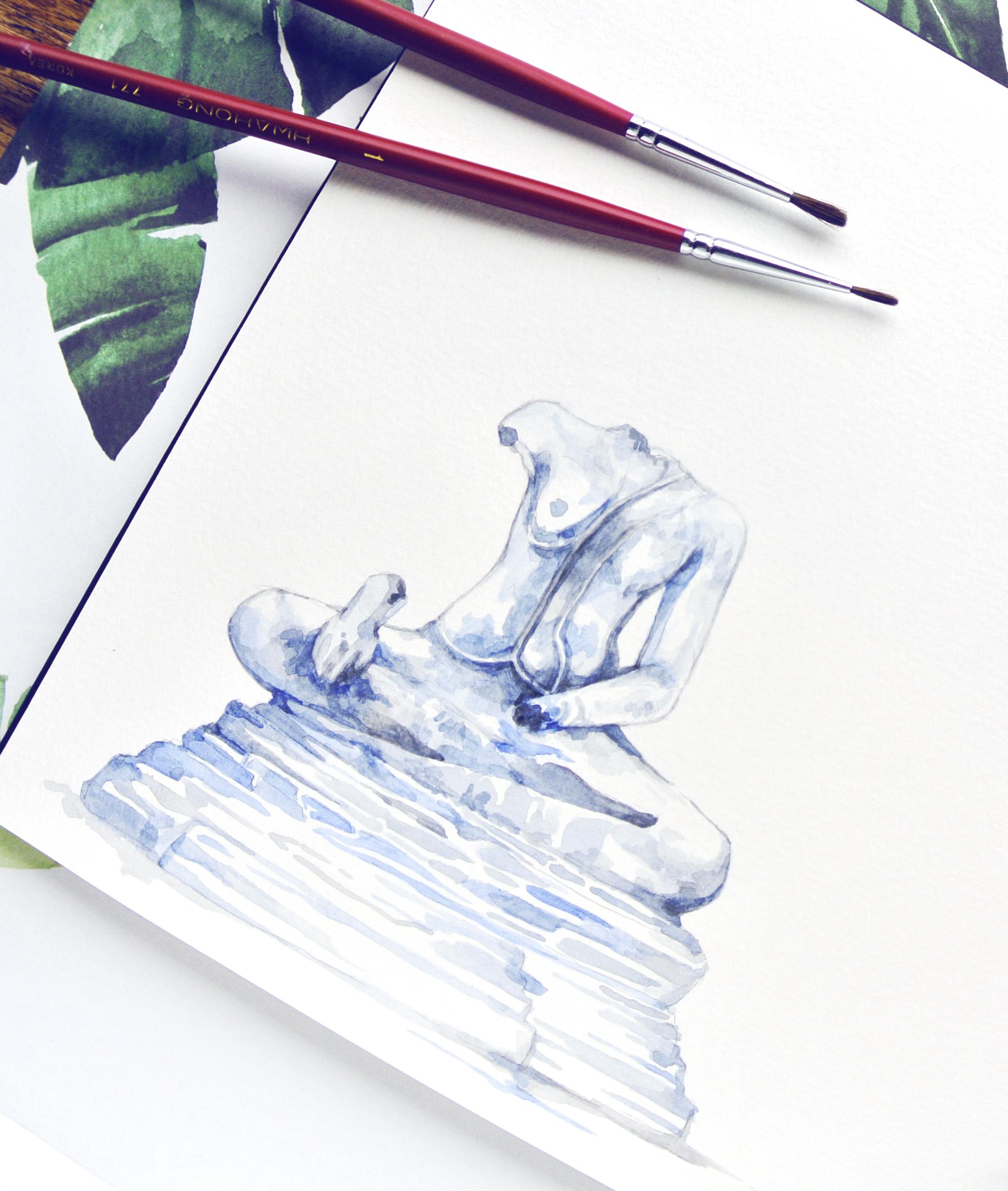 Travel sketches, Ayutthaya Thailand, Headless Statue, Evelyne Park