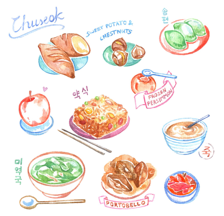 Korean Thanksgiving Chuseok Food Illustration - Life in Korea, Watercolor Diary