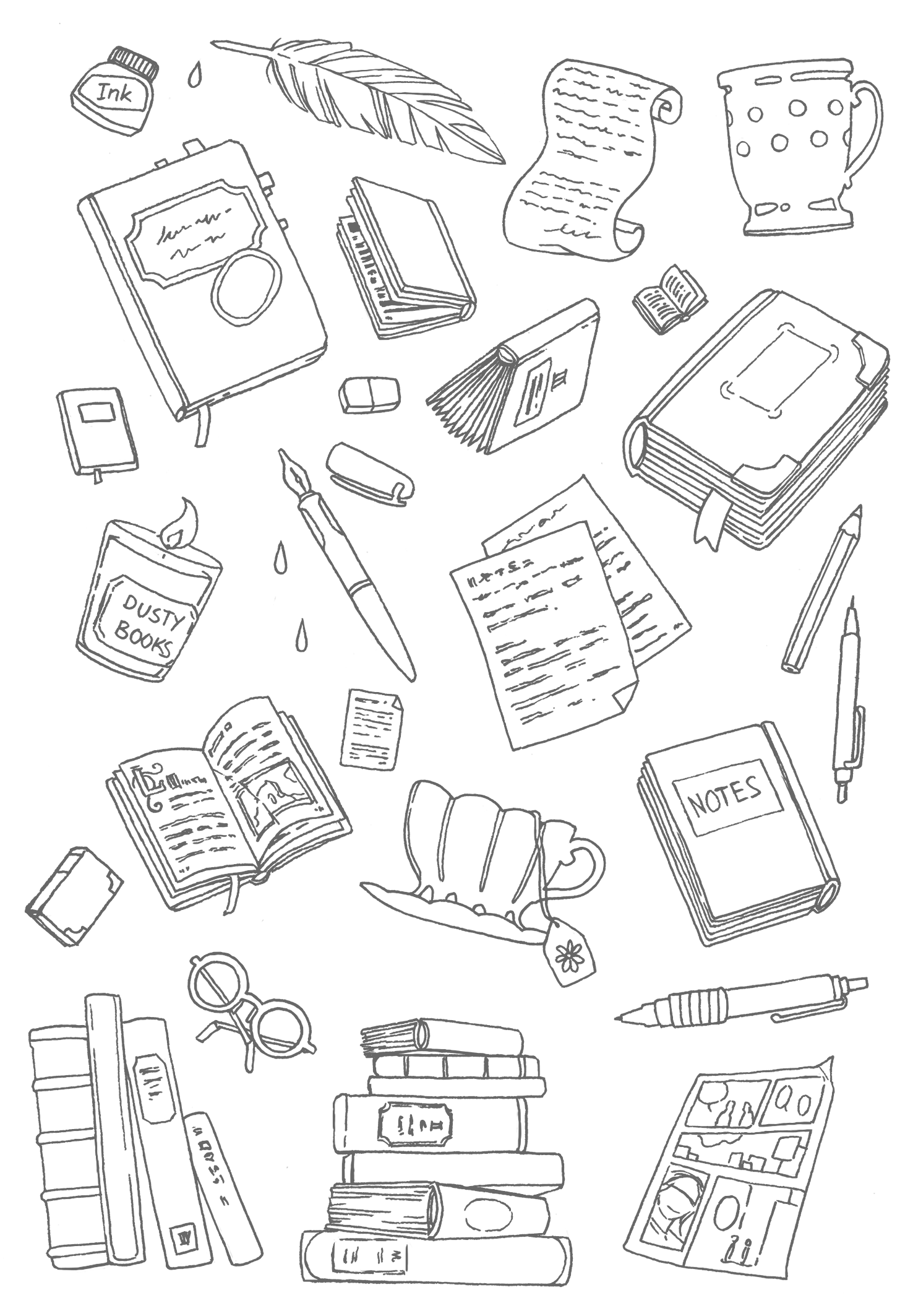 NaNoWriMo FREE printable coloring page: Books, notes, tea, and pens to color while you should be writing your novel...