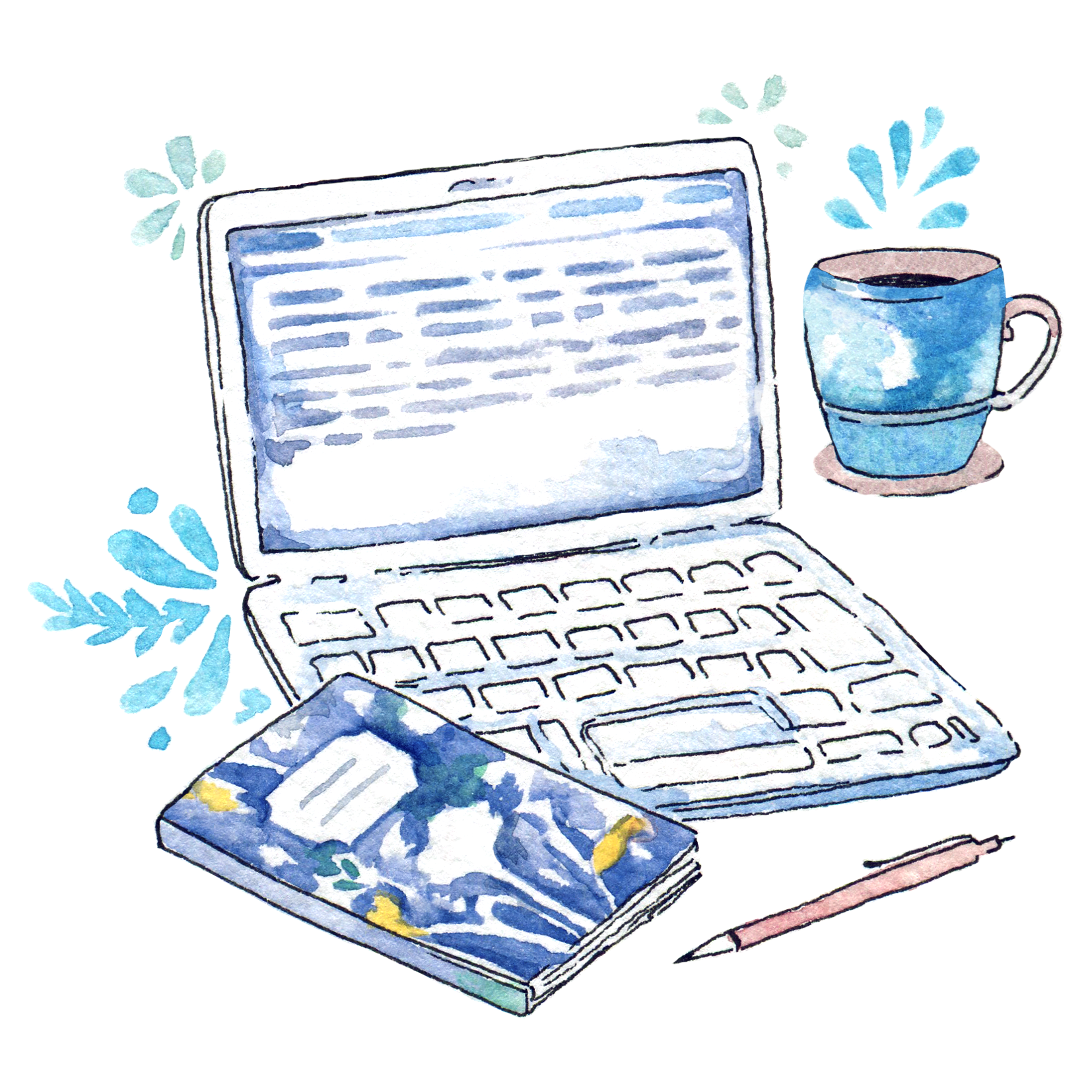 Little desk situation during NaNoWriMo - Illustration in watercolor. Coffee, laptop, notebook and pen... now just ideas are missing.  If you'd like to print your own stickers made from this drawing, there's a  free printable here !