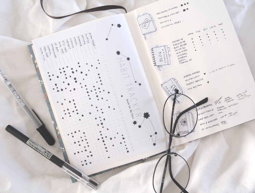 Starry Sky Habit Tracker in my bullet journal. Printable habit tracker for intuitive and flexible habit tracking.