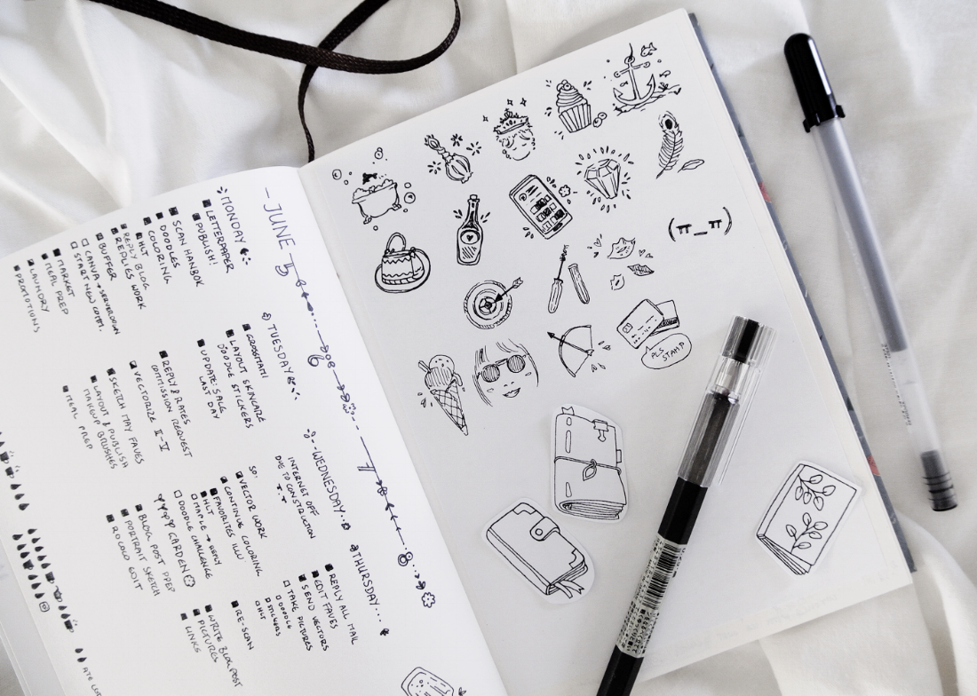 Oodles Of Doodles Challenge in my bullet journal. Half-way done, little doodle drawings for an Instagram challenge. Drawn with my trusted Muji pen. More creative bujo ideas can be found on my blog!