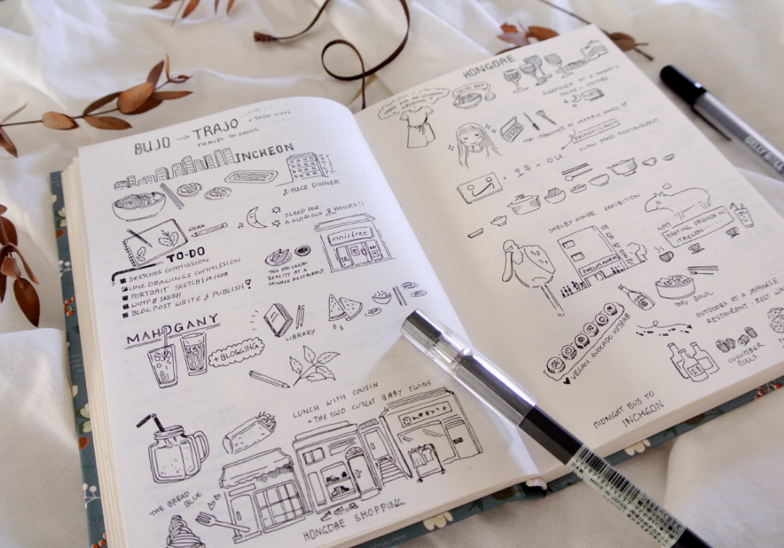 """Travel sketches in my bullet journal. A four day trip to Seoul and Incheon, Korea, in doodle drawings and little notes. More creative bujo spreads on my blog """"evydraws"""""""