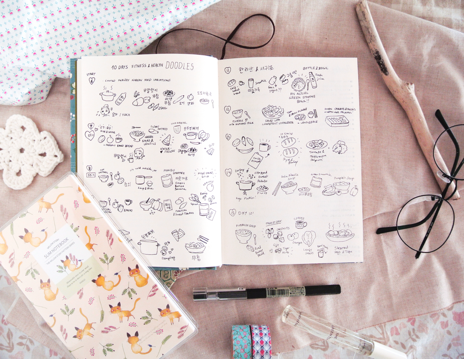 Meal planning and food diary in my bullet journal. I keep a food diary to remind myself of what I've eaten, which recipes I should try again, and to see if I had a variety of healthy food over the week.