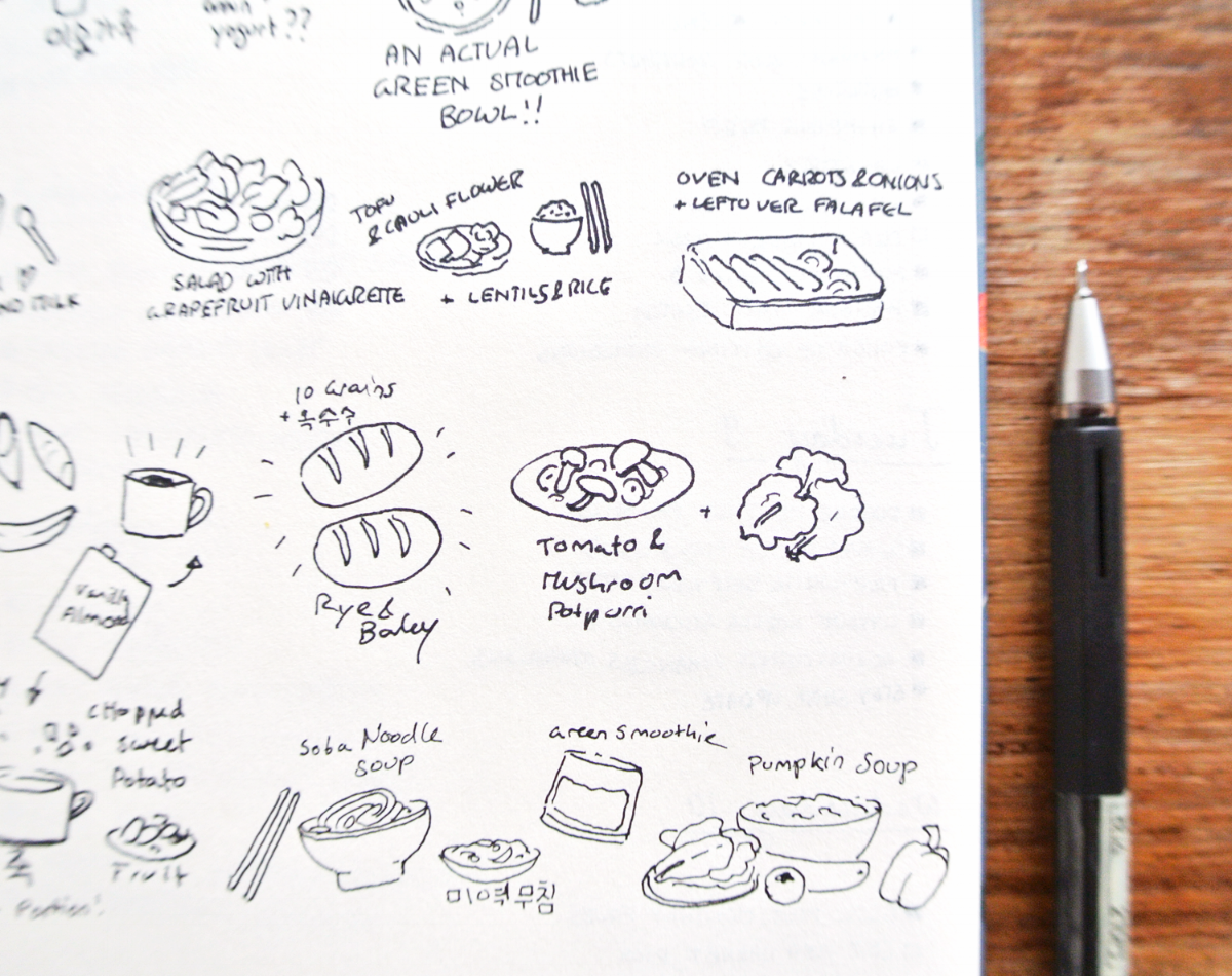 More food doodle drawings in my bullet journal. Meal planning with drawings is lots of fun!