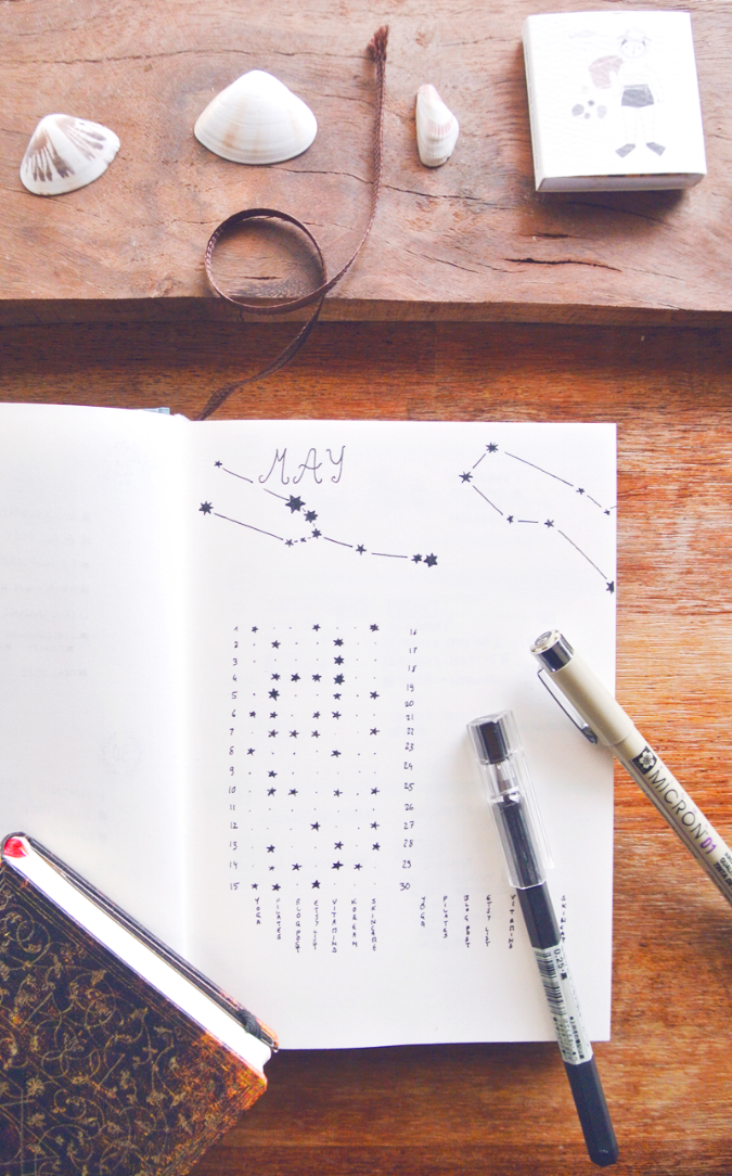 Bullet journal habit tracker ideas - starry sky layout and more on the blog!