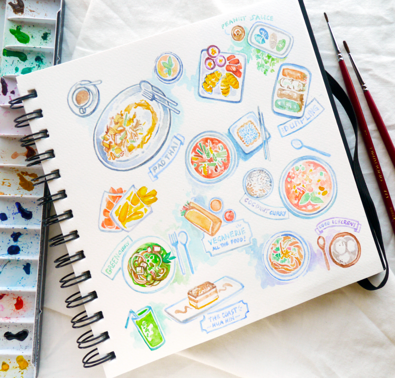 A week in Thailand: Vegan Food Diary & Illustrations. A quick guide to vegan-friendly restaurants, hotels and resorts in Bangkok and Huahin.