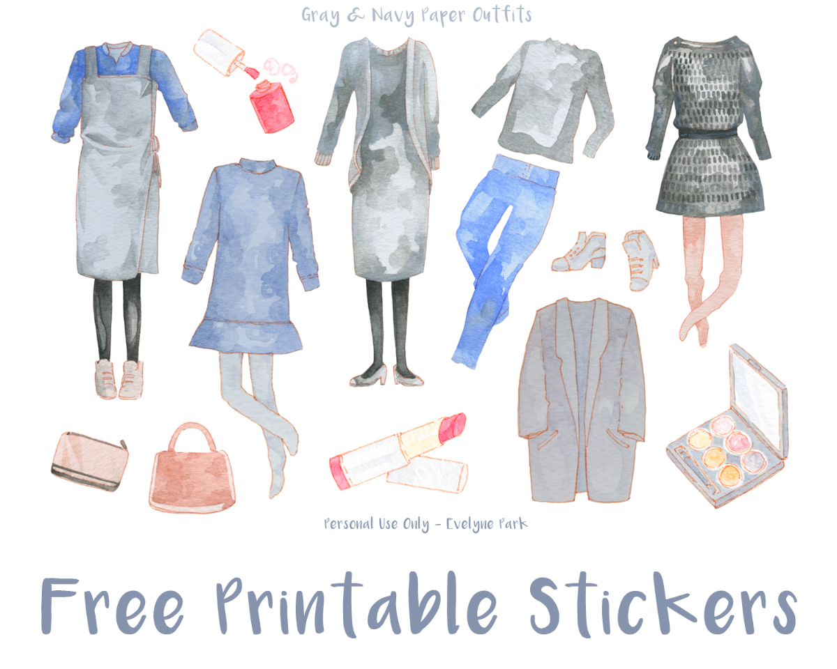 free printable paperdoll inspired outfit stickers - Korean wedding guest dresses - watercolor illustration, makeup and handbags, sticker printables for scrapbooks, filofax, planners and journals.