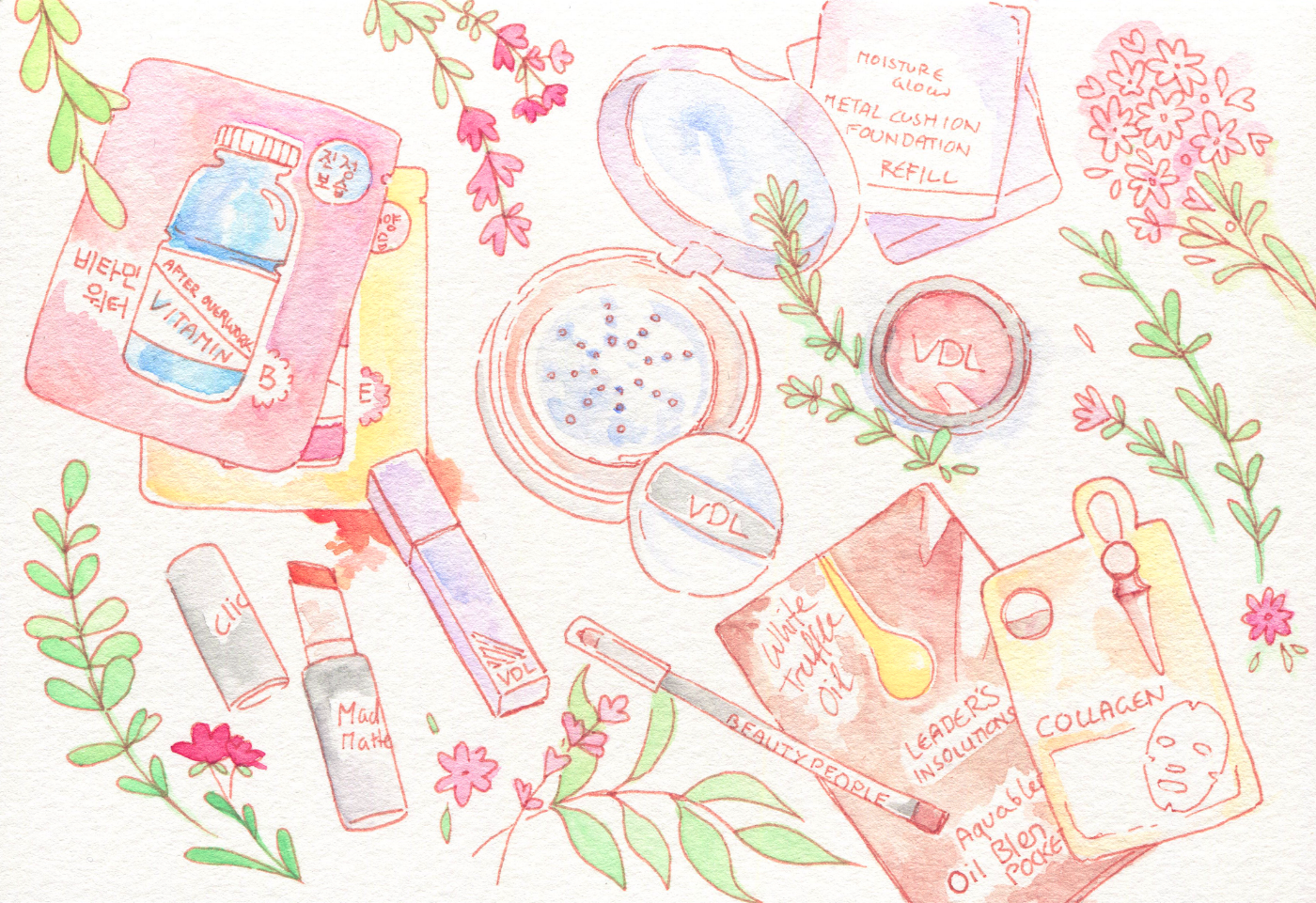 Seoul Shopping Trip: My Korean beauty and makeup haul illustration and a lightning round of reviews! VDL metal cushion foundations, Clio Mad Matte lipsticks and lots of sheetmasks.