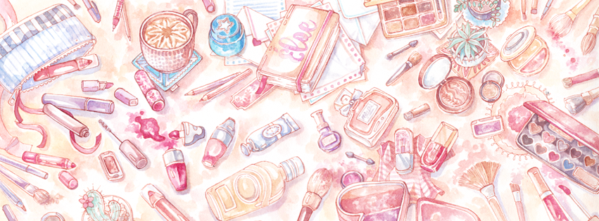 A chaotic desk illustration with lots of beauty, makeup and stationery products! This one was on the realistic end of my blog illustration spectrum and I loved the more detailed shading and three-dimensional view.