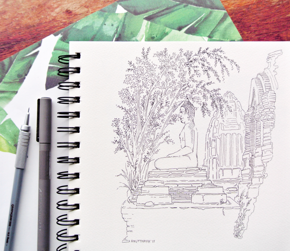 Buddha statue among the ruins of Ayutthaya, Thailand. Travel sketchbook by Evelyne Park, Inktober 2017