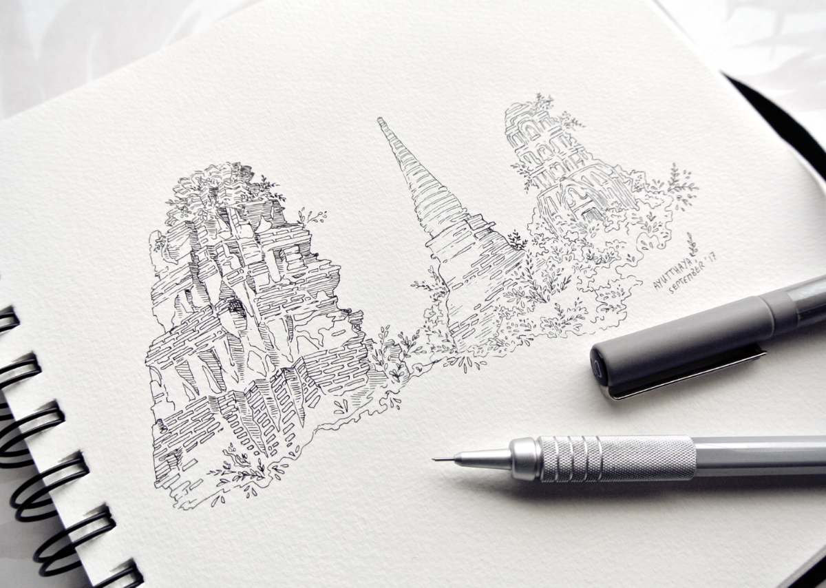 Ayutthaya temple ruins, lost city in Thailand. Travel sketchbook impressions by Evelyne Park