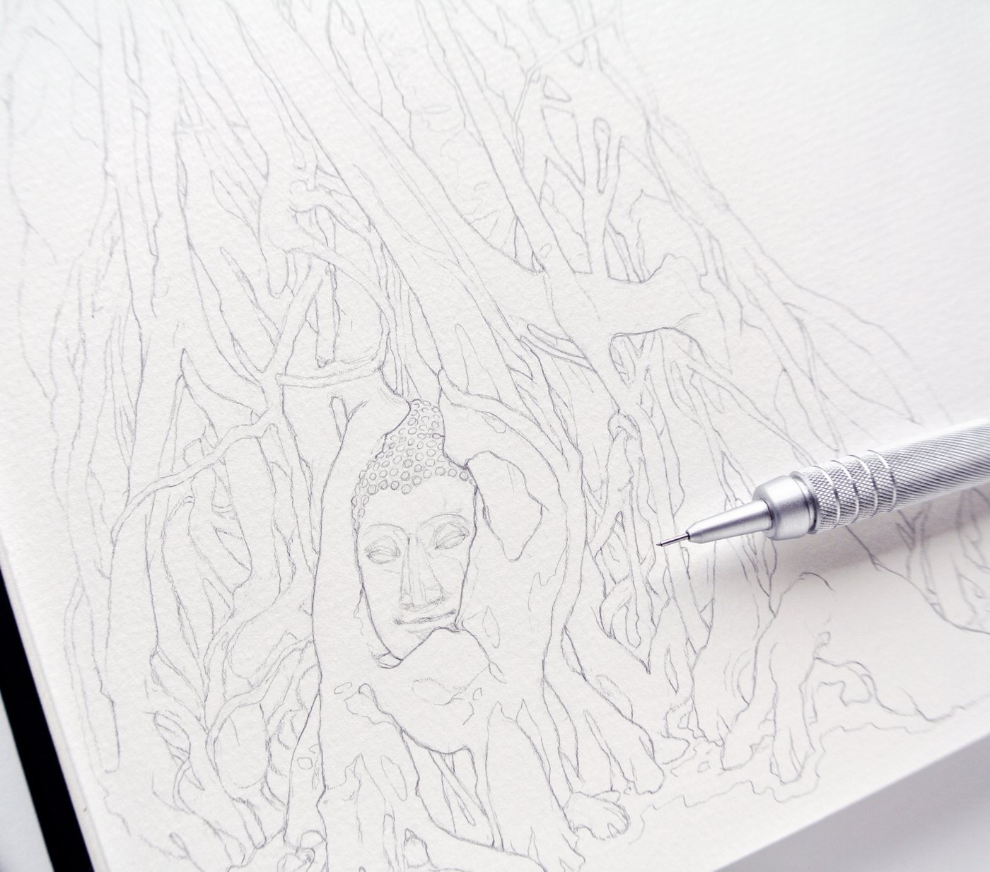 Wat Mahathat, Head of Buddha in Tree, Travel sketchbook drawing, Evelyne Park