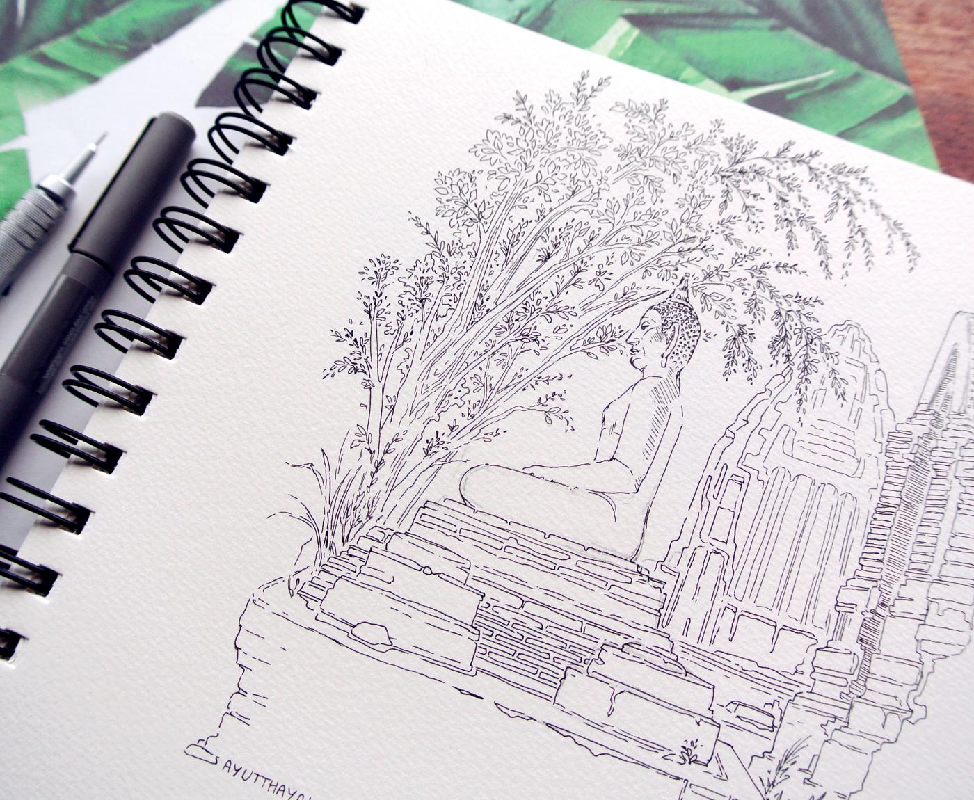 Inktober 2017, Travel Sketches, Landscapes, Thailand Ayutthaya Statue, Evelyne Park