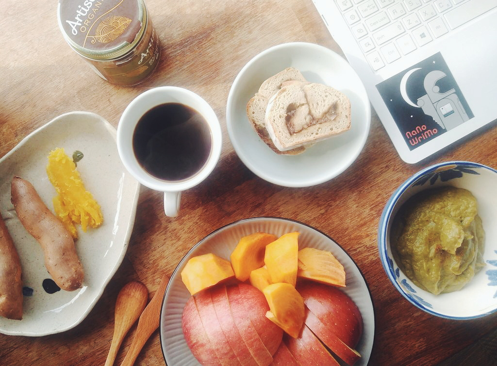 A typical fall breakfast for me here in South Korea as a vegan: Homemade broccoli soup, my freshly baked cinnamon roll bread, apples and persimmon, hot sweet potatoes, and of course coffee!