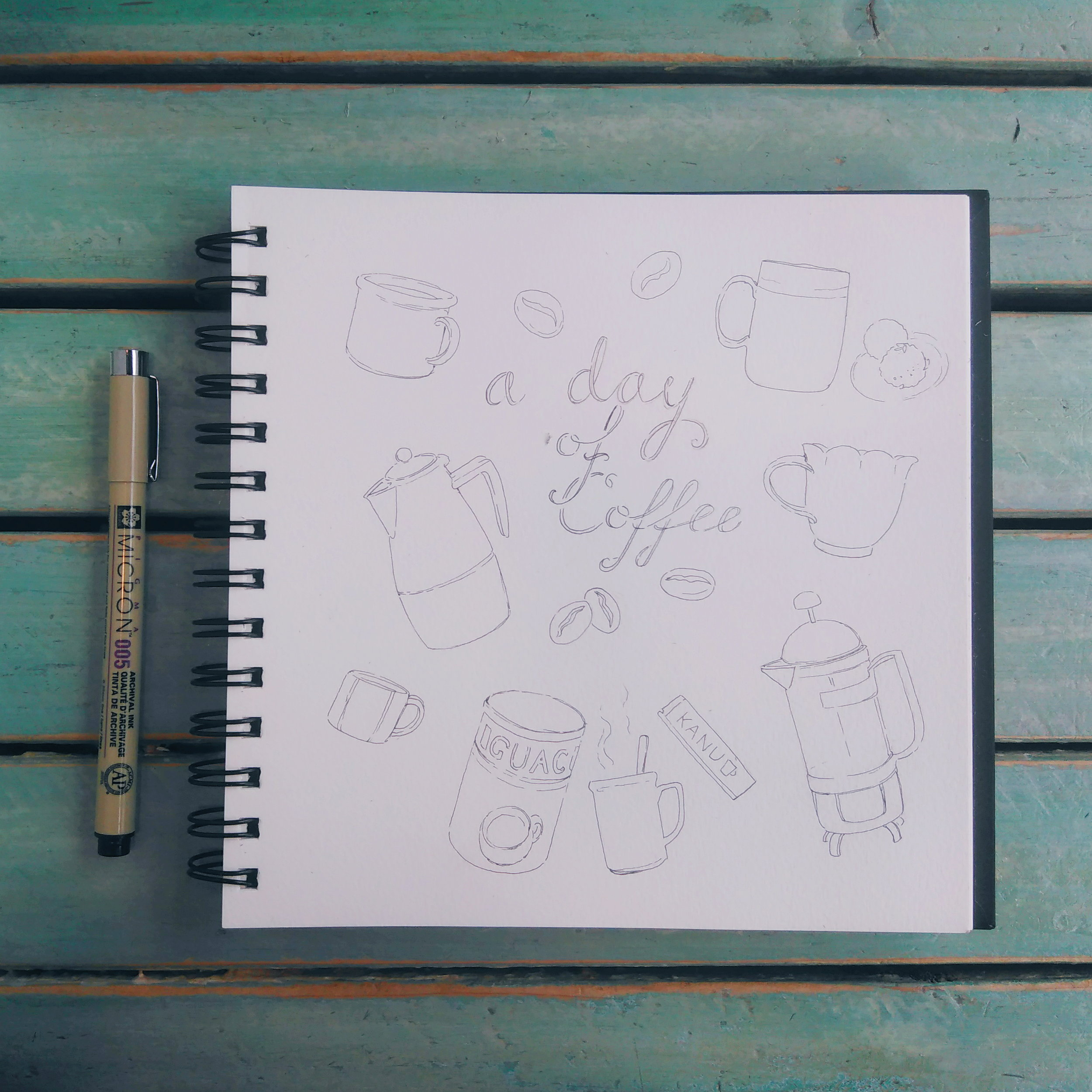 Coffee in my sketchbook. I'm trying to cut back on caffeine, but in the end, I always end up with at least three cups per day. Oh well.