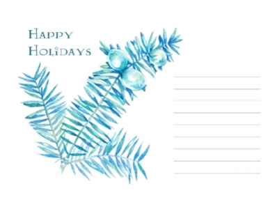"""Free printable set of four """"Happy Holidays"""" cards. With my watercolor illustration of a Christmas tree branch and enough room for a personal note in the front, these printables make for great greeting cards or postcards.  Four cards on one US letter size PDF file as a free download."""