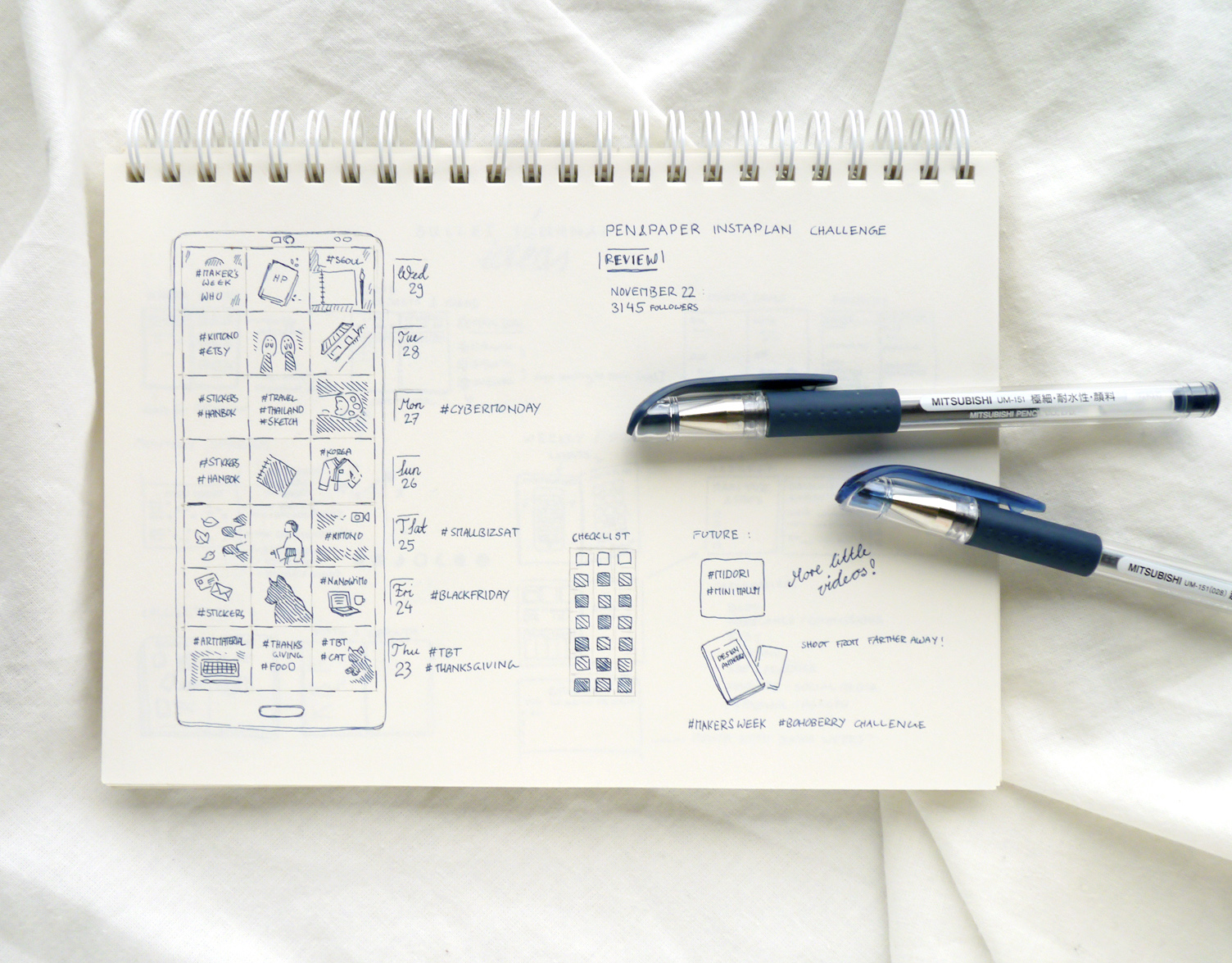 Minimalist, simple approach to social media planning and growth tracking. Instagram in my Bullet Journal: Cohesive Feed Planner & Tracker (+ Free Printable) Use a bullet journal or just my printable layout to plan, brainstorm and track your Instagram posts, write down important hashtags and events, and track your posting rhythm! Using a pen, paper, and a minimalist bujo layout is so much more calming and inspiring than Instagram scheduling apps. While I just doodled my own Instagram Tracking spread, I made a free printable version for my readers, too.