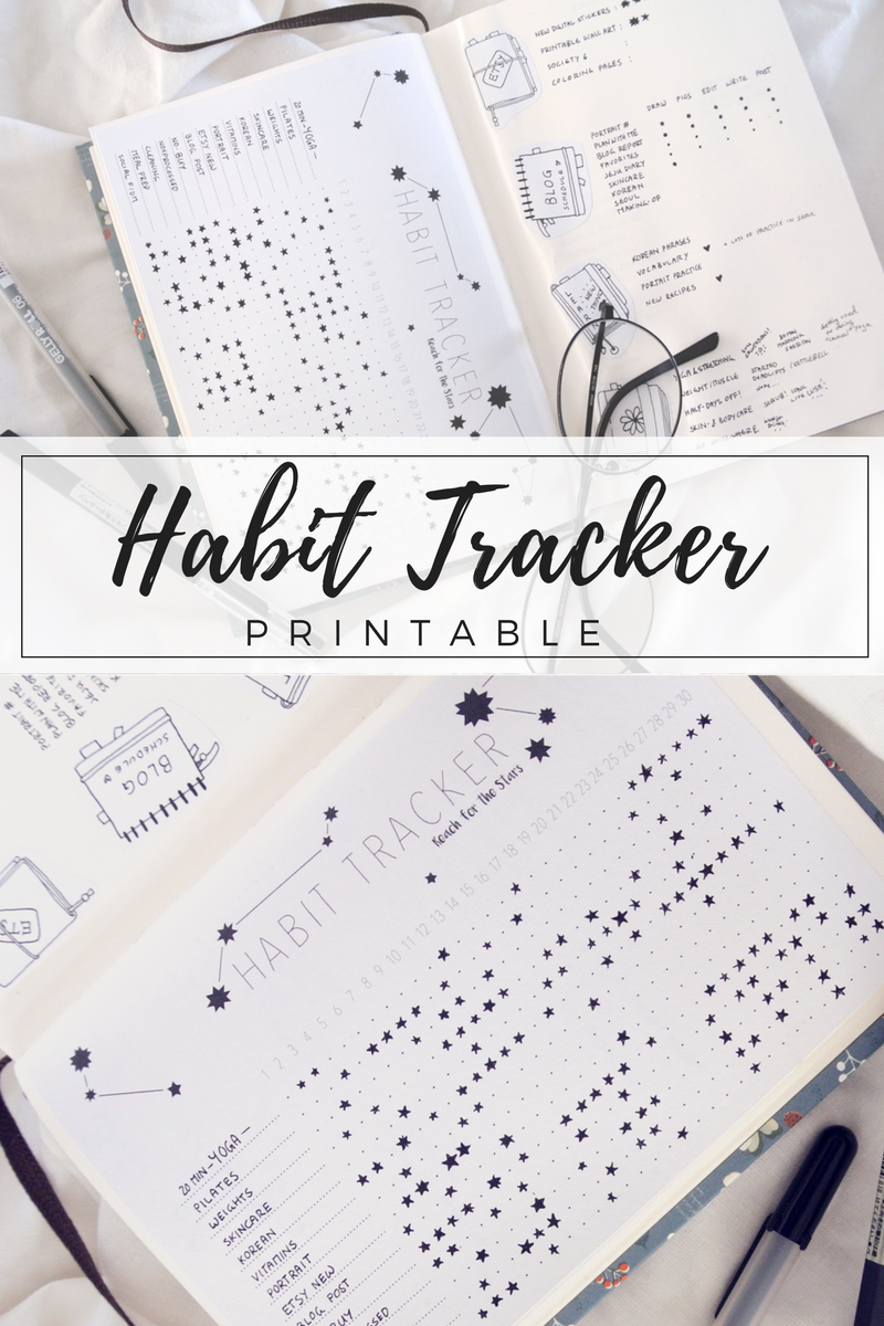 A previous bullet journal layout idea: My starry sky habit tracker. Find this printable bullet journal page as well as stickers, calendars, and other small stationery in my Etsy shop! Instagram in my Bullet Journal: Cohesive Feed Planner & Tracker (+ Free Printable)