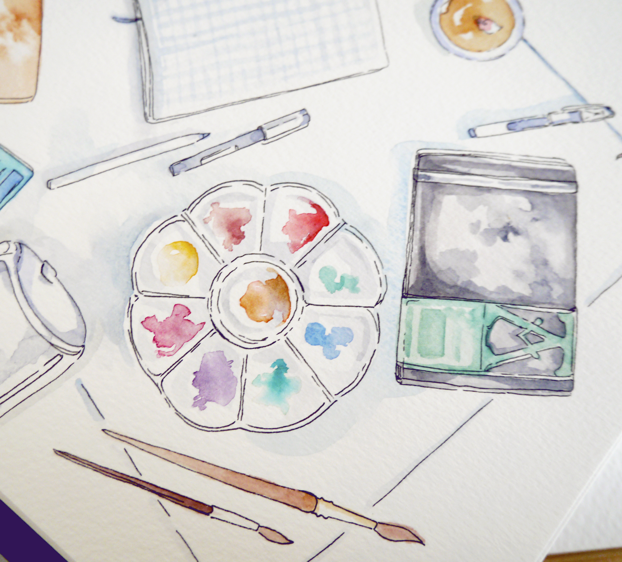 Watercolor illustration of my favorite art supplies - an illustrated artist gift guide for unique, creative gifts. My favorite art materials and wishlist compiled into an artist gift ideas guide - from beginner to professional, watercolor painter to sticker DIYer, I think I've got something for everyone. :) My art supply favorites have been tested and used over the last decade (time flies!) and I've got a long list of personal preferences that all my art materials need to fulfill, but I tried to be as broad and creative with this gift guide as I could!  From bullet journal supplies to luxurious art gifts, I hope you find something for your artist friends - or for your own wishlist!