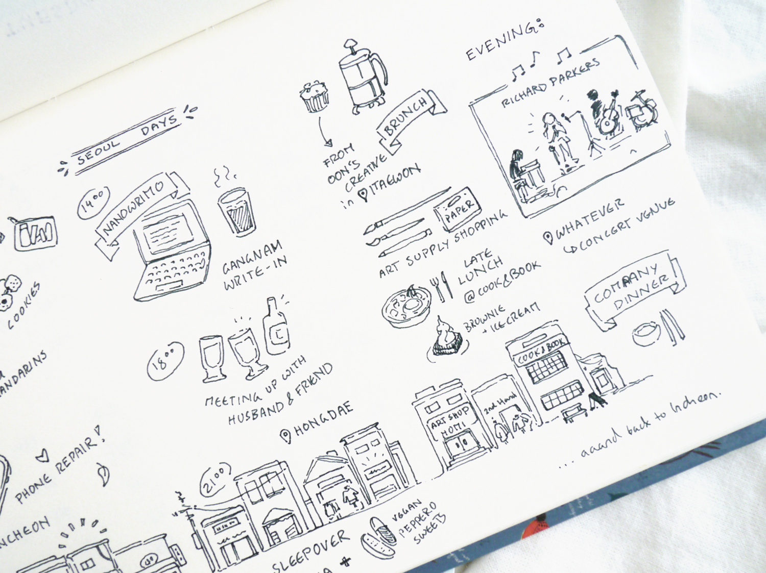 Things to do in Hongdae, Seoul: A creative travel diary & bullet journal doodles. I love how this page in my bullet journal turned out - especially the tiny buildings at the bottom, representing three days of location changes, restaurants, shops, sleepovers...  How to spend a day in the area around the (artsy) Hongik University in Seoul - the whole area is famous for its nightlife and shopping opportunities, but there are hidden places and side streets to discover. Follow me around Hongdae from morning till night, from art shops to restaurants, creative events to concerts, and I hope you get some ideas on how to spend a laid-back day in Seoul. With travel sketches and a creative bullet journal vacation layout idea.