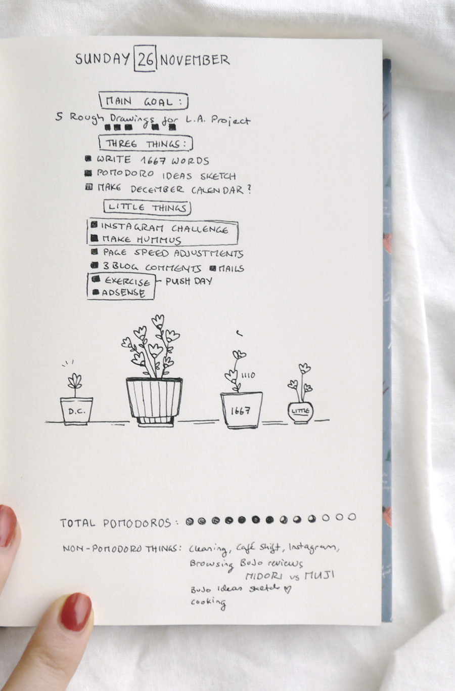 """Bullet Journal daily spread idea: Pomodoro technique doodles & productivity tips. I grouped my daily tasks into different categories and """"planted"""" them in these little flower pot drawings. Of course, those were inspired by the very name of the Pomodoro technique - I wanted to grow tomatoes. :)"""