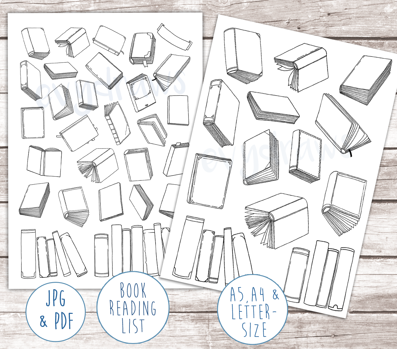 I created a printable Book Reading Tracker based on my own doodles. For bullet journals and planners, this A4, A5, letter-size printing friendly digital download with two versions of book drawings is the perfect addition to your yearly collectionis if you're a book lover and avid reader! Track your reading progress, remember future titles on your TBR, color in covers or decorate them with doodles of your own.