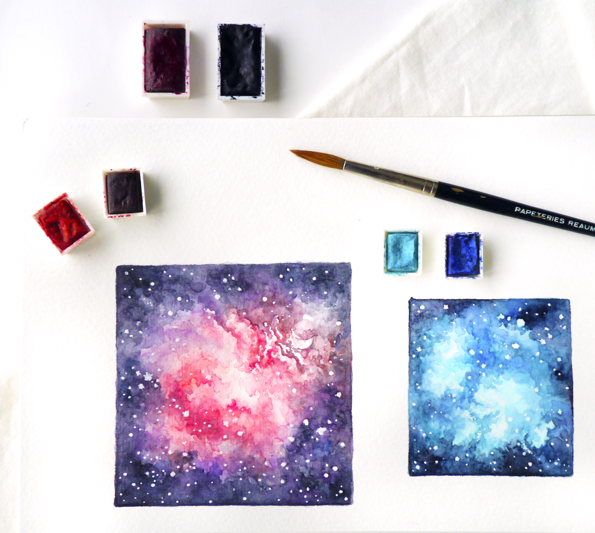 I started by practicing watercolor galaxy art! I love anything related to outer space, so it's a mystery why I haven't gotten into these sooner. It's so much fun to spread and layer colors until they resemble an actual nebula!  Painted in watercolors by Winsor & Newton, on Canson aquarelle paper. Find more of my creative new year resolutions and ideas on the blog!