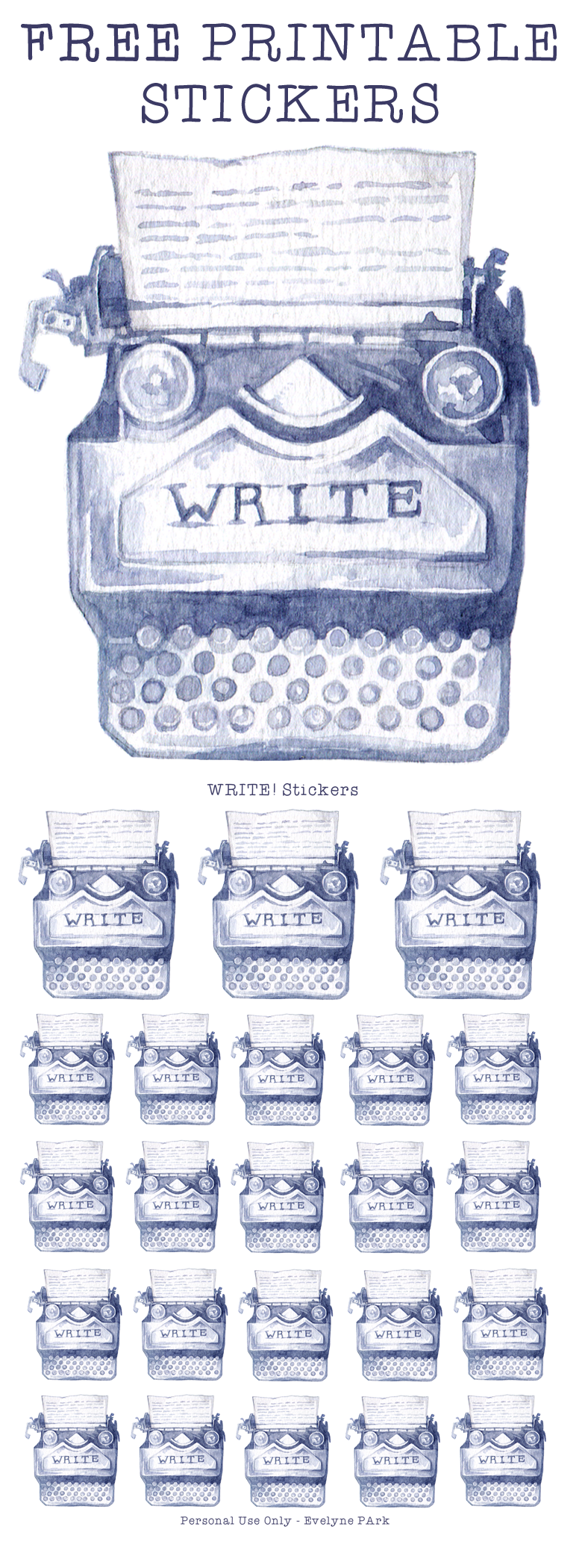 """A sheet full of this """"WRITER"""" typewriter sticker motive, in two different sizes.  Painted in watercolor, this planner sticker is perfect for marking writing time in your daily schedule and looks gorgeous in minimalist or vintage themed bullet journals!  JPG 300 DPI, US letter size"""