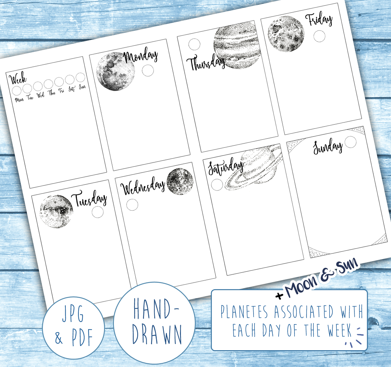 A printable version of my weekly layout for your own planner or bullet journal is now available! The planets, moon, and silhouette of the sun are illustrated in ink and combined with the simple, functional weekly setup I prefer for my own to-do lists. Click the image for the link!