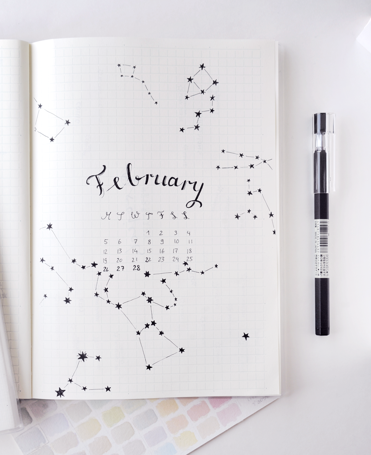 Bullet Journal Layout: If You Need a Creative Outlet  Cover pages for a new month are the perfect place to start if you just want a moment to reflect, doodle, and be creative.  No matter if you use a planner, a random notebook, or if you keep a journal: Take a look at the month ahead (even if we're already in the middle of it - just jump in!).  Maybe try your hand at calligraphy!  Add a tiny calendar to get a sense of what's coming.  Write a line or two reflecting on the last month.  If you don't have a yearly overview on another page, mark important dates like upcoming birthdays or events.  Doodle - from plants to geometric forms, there are so many ideas you can find on Pinterest or Instagram!  I took it super serious this month and drew  the actual constellations  that can be found in our February night sky. :)