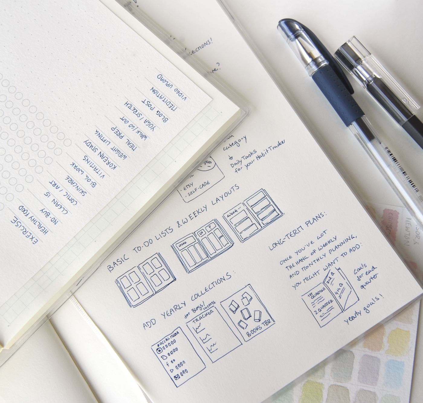 Habit Trackers and simple bullet journal ideas for bloggers, self-employed creatives and busy people! Carefully choosing your daily habits and recurring tasks is a simple way to make sure that at the end of the month, you've invested time and effort into what matters to you!