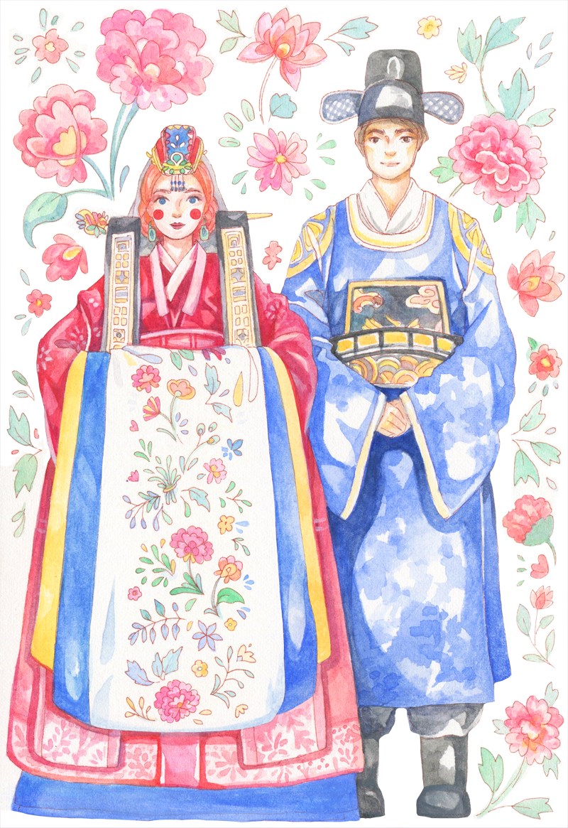 Wedding illustration for an invitation card to a traditional Korean ceremony. The elaborate Hanbok for weddings are colorful, covered in intricate embroidery, and surprisingly heavy!  This wedding invitation portrait was a custom order.
