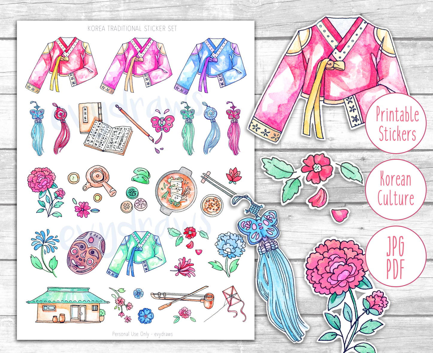 Traditional Korea: Travel Stickers Printable Korean culture illustrations - from Hanbok to embroidery, tea ceremony to traditional houses. These Korea stickers are perfect little decor elements for your travel diary, journal, or letters!
