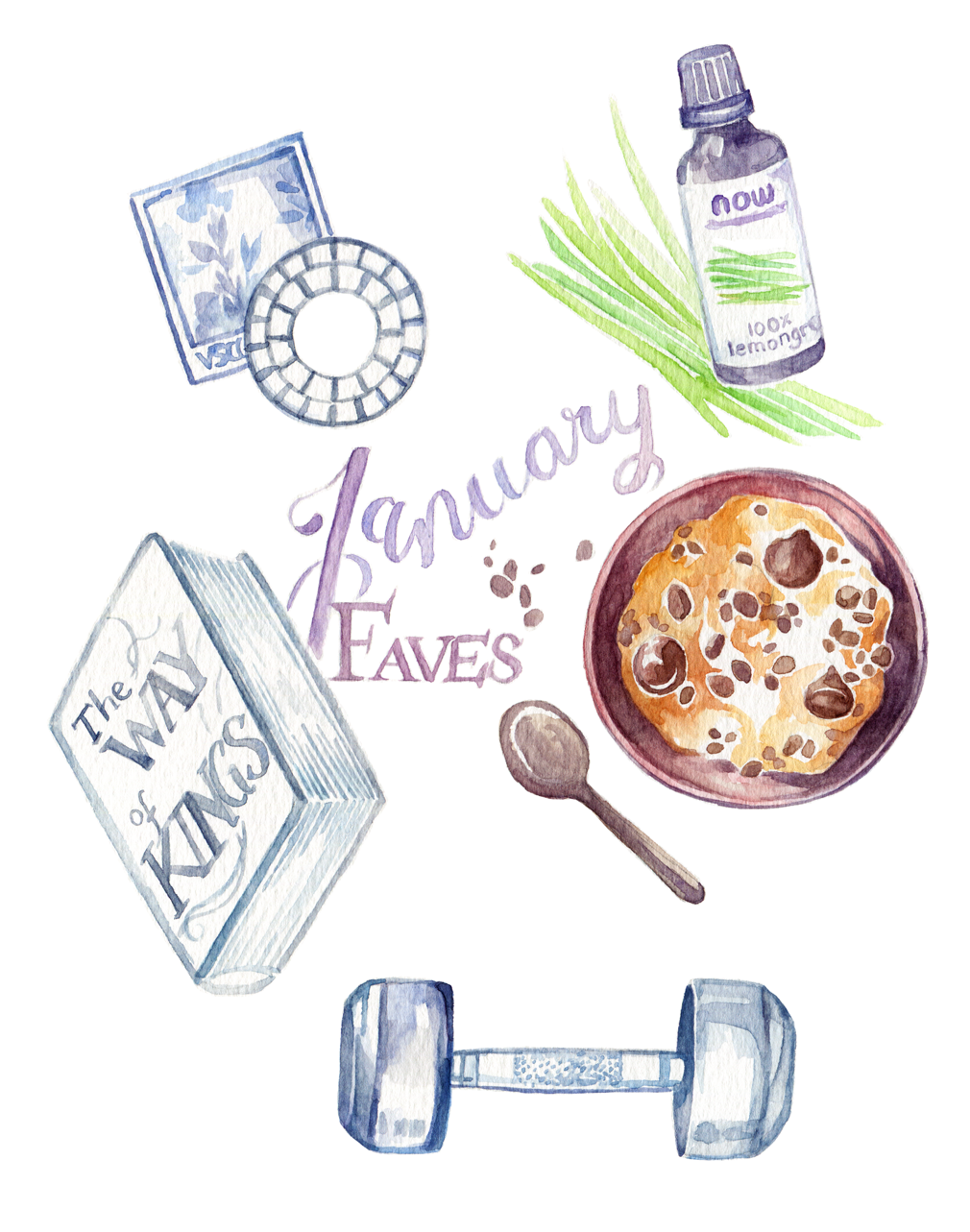My January Favorites Illustration: Essential oil to make working from home more comfortable, a productivity tip for long work hours, book recommendations, and my newest food obsession: Vegan cookie dough! Getting in some extra protein since I started weight lifting - noob gains need fuel!