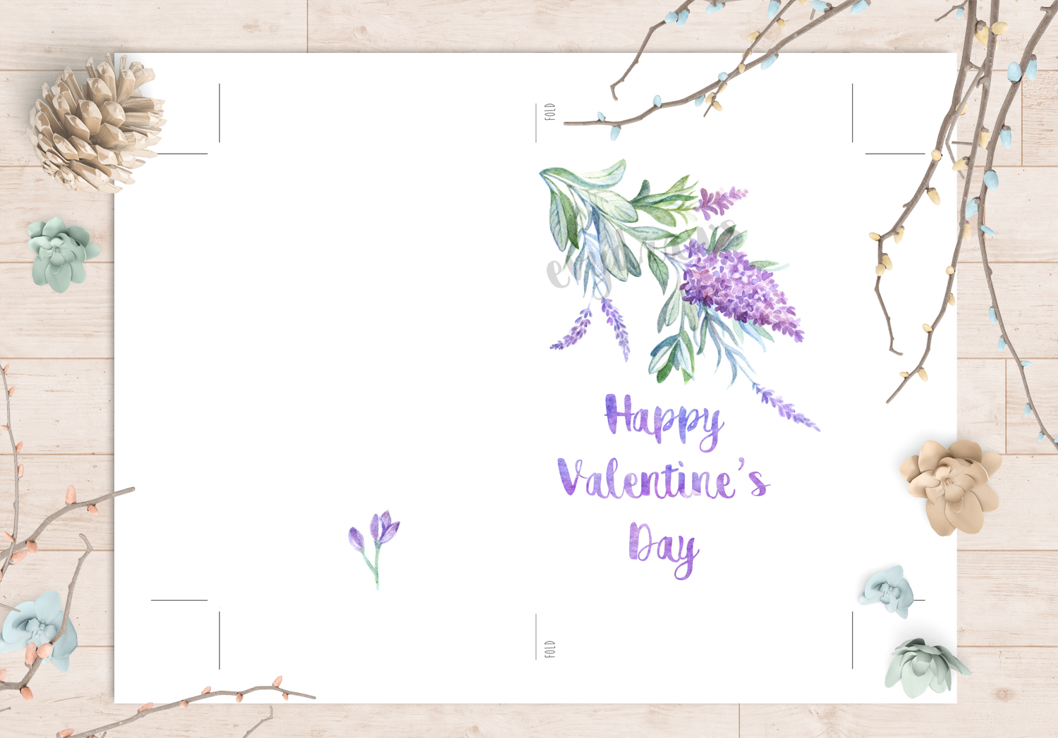 """* This hand-drawn """"Happy Valentine's Day"""" card with a romantic watercolor flower illustration is perfect as a last-minute DIY gift.  * A cute floral bonus illustration decorates the back of the card and the printable design comes with a wide margin and guidelines to make your printing, cutting, and folding easy!  * The calligraphy element can be personalized - request a customization and I'll add a personal message with the same watercolor pattern font."""