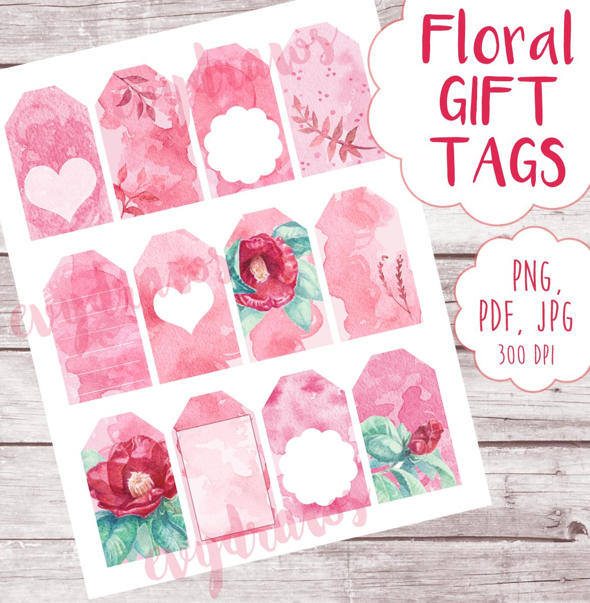 FREE printable gift tags perfect for Valentine's Day! Watercolor flower illustrations (Camellia) and cute watercolor patterns created by hand, then turned into a digital download. Use them to decorate your anniversary or Valentine's Day gifts!