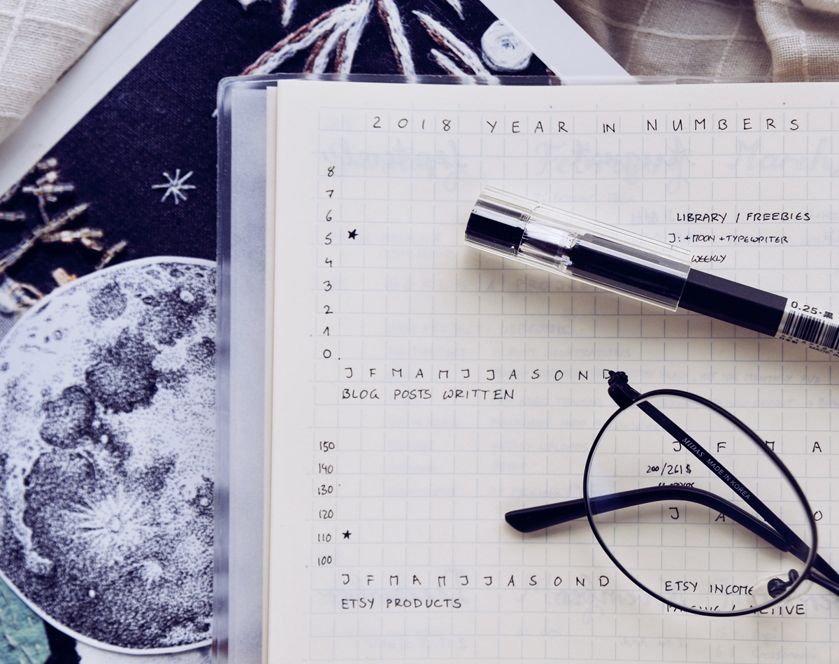 A New Journey: Blog & Income Report for January 2018 - How I earned 221$ in passive income last month with my small blog (and without a niche!)  I track my blog's progress in a minimalist bullet journal - here's how many blog posts I've written in January 2018.  I'm not a professional blogger, but I've been self-employed for nearly five years and hope to build a side-income in my spare time via my blog and connected digital products, affiliate marketing, and the occasional ad income. If you're a small blogger yourself, I hope my journey to (hopefully!) 1000$ of passive income each month can inspire you.  January income report and pageviews as well as social media stats below!