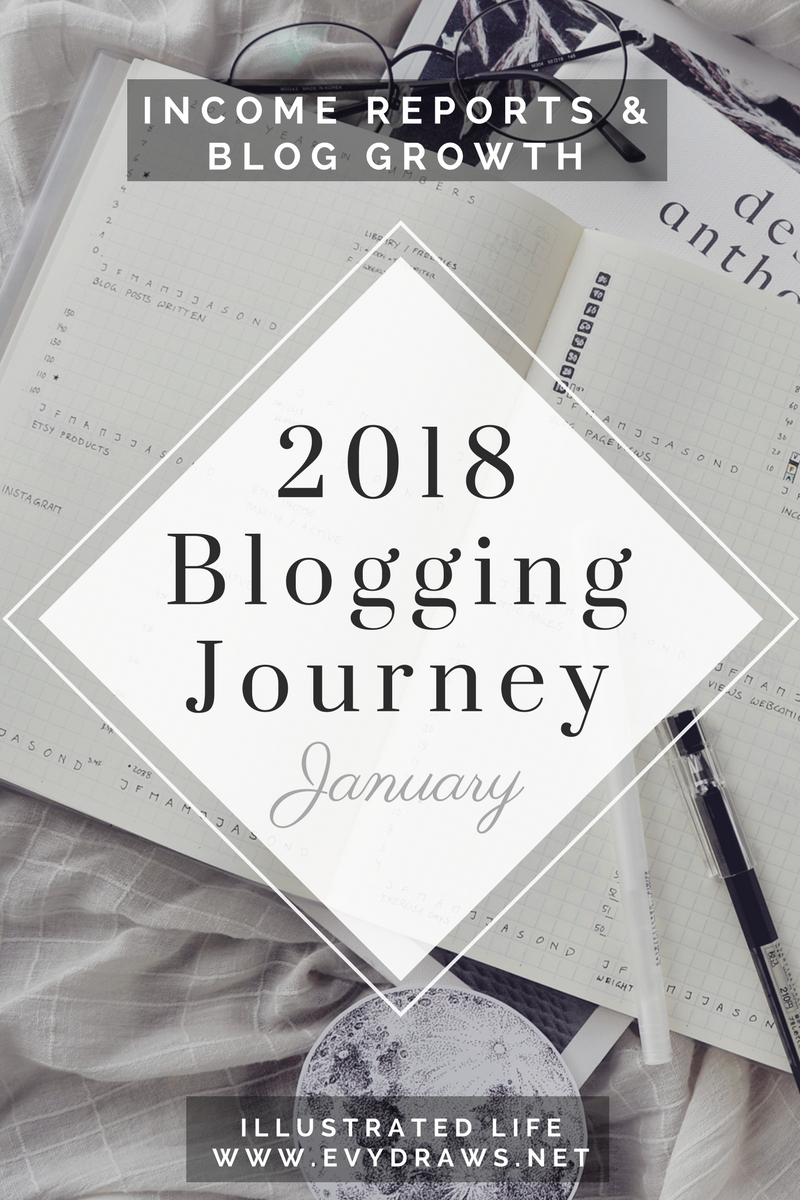 A New Journey: Blog & Income Report for January 2018 - How I earned 221$ in passive income last month with my small blog (and without a niche!)  I learned a lot about blogging last year and am ready to tackle 2018 with a fresh mindset. Here's my January blog report! Even if you don't plan on earning an income from your blog yourself, I hope you can find ideas, inspiration, and motivation for your own blogging journey through my little recaps.   I'm not a professional blogger, but I've been self-employed for nearly five years and hope to build a side-income in my spare time via my blog and connected digital products, affiliate marketing, and the occasional ad income. If you're a small blogger yourself, I hope my journey to (hopefully!) 1000$ of passive income each month can inspire you.  January income report and pageviews as well as social media stats below!