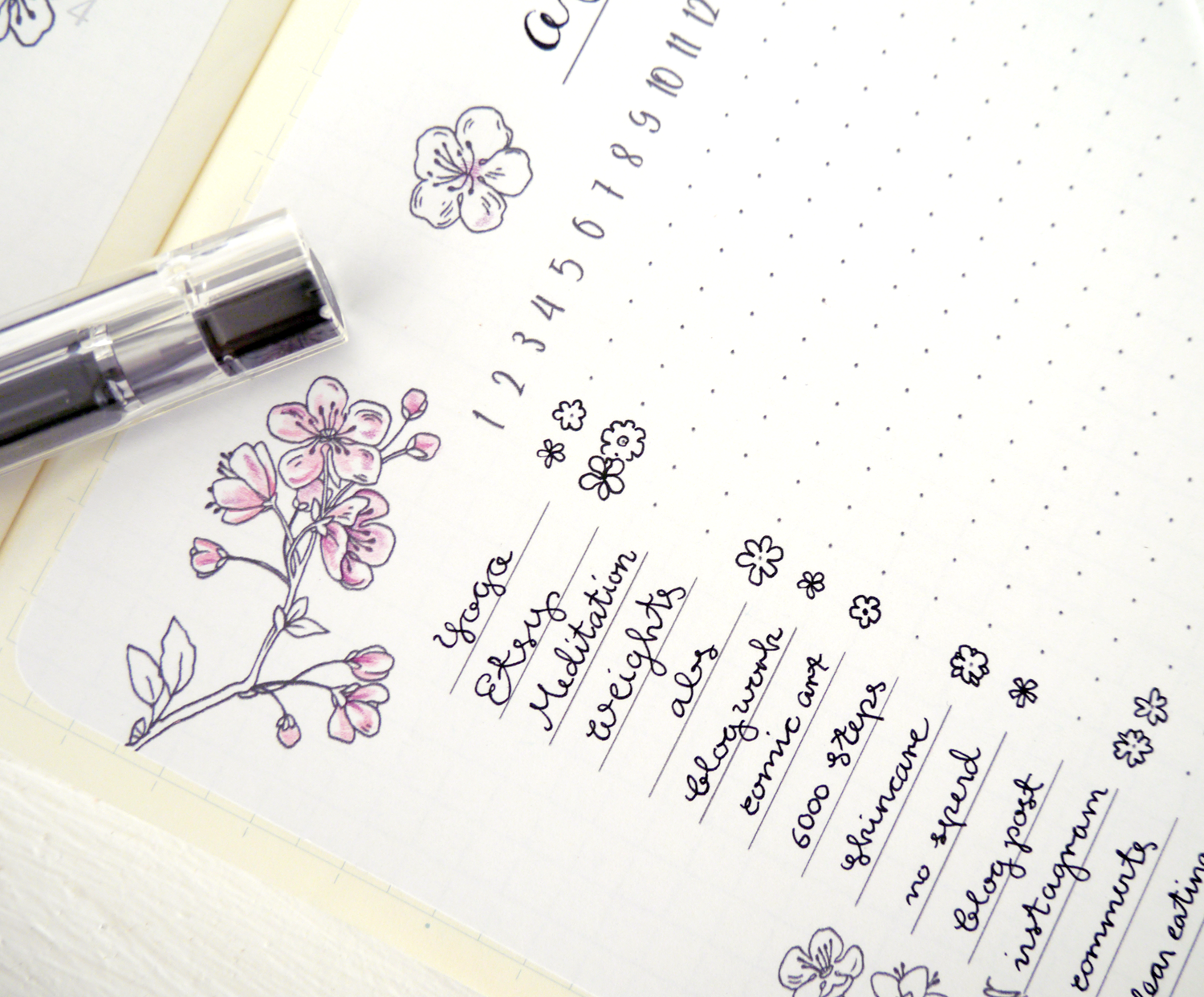 """Bullet journals are different for everyone. That flexibility is the key to why they're so popular!  My own preference:  Functional, simple daily and weekly layouts  combined with  elaborate monthly collections . That way, I save time on my daily planning but can still have fun.  With that in mind, I change up those monthly collection pages to fit with a  """"theme""""  or  """"aesthetic""""  - mostly inspired by the seasons or any of my current obsessions.  April here in Korea means cherry blossom season! For a couple of weeks, there are cherry trees in full bloom and events everywhere.  Of course, I couldn't NOT center my  April bullet journal spreads  around cherry blossoms.  Here's the result: A cute but simple collection of pages and ideas.  I hope you enjoy the printables I made to go along with my own BuJo month. Read on to grab the free coloring page, too~"""